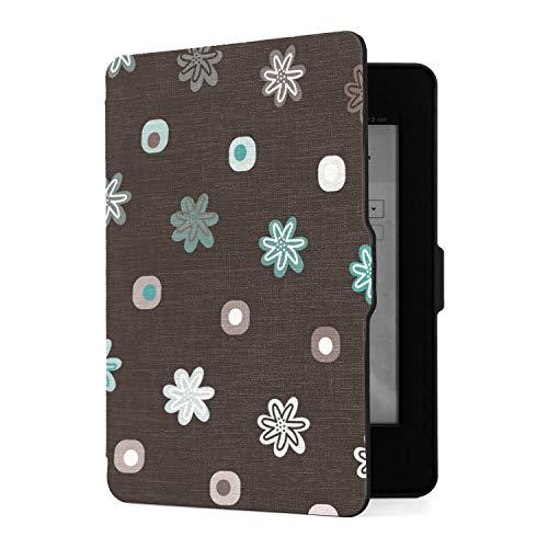Funda para Kindle Paperwhite 1 2 3, Cabezas de Flores sobre Funda de Piel sintética Negra con Smart Auto Wake Sleep para Amazon Kindle Paperwhite (se Adapta a Las Versiones 2012, 2013, 2015)