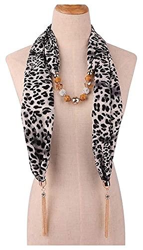 mimiliy Foulard femme, femme géométrique perlé pendentif pierre pendentif léopard Foulard en métal Chaîne de charme collier collier style ethnique Infinity cercle cercle boucle pare-soleil écharpe châ