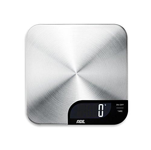 ADE Digitale Küchenwaage KE 1600 Alessia. Elektronische Waage mit Wiegefläche aus gebürstetem Edelstahl für präzises Wiegen bis 5kg. Mit Zuwiegefunktion (Tara). Inkl. Batterie. Silber