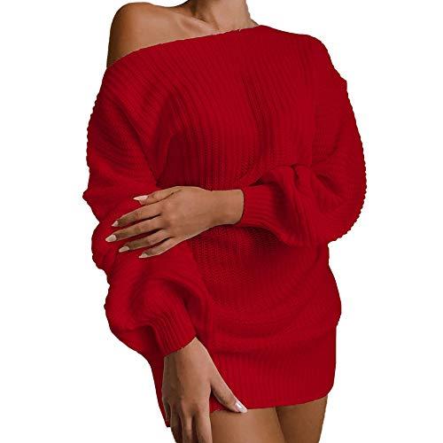 GUOYANGPAI Vestido de suéter de Manga Larga con Hombros Descubiertos y Manga de Linterna sólida para Mujer, otoño e Invierno, Informal, con Hombros Descubiertos,mi,M