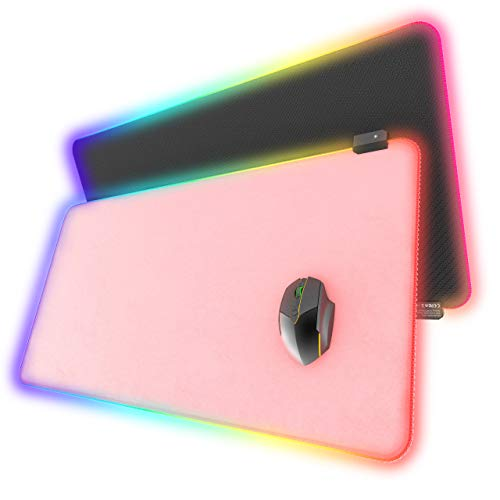 RGB Gaming Mouse Pad, YSAGi Large Led Desk Pad with 13 Lighting Modes, PU Leather Waterproof Surface, Computer Keyboard Mouse Mat, Non-Slip Rubber Base (31.5x15.7 in-Pink)