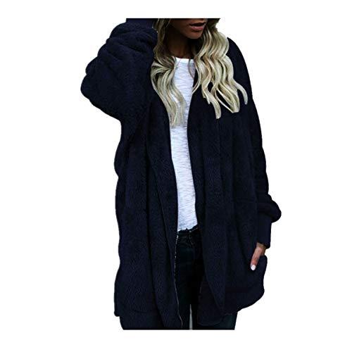Covermason Femme Manteaux et Blousons Hiver Chaud Veste à Capuche Fausse Fourrure Long Cardigan Grande Taille Blouson Gilet Outercoat Chaud Jacket Sweat-Shirts Tops (3XL, Marine2)
