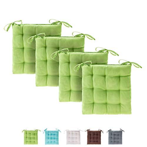 etérea Basic Sitzkissen, Stuhlkissen mit Bändern - für Innen- und Außenbereich geeignet, Sitzpolster Auflage für Haus und Garten - 4er Set - 40x40 cm, Apfelgrün