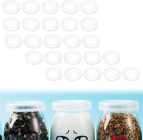 Yangbaga 25pcs Tapa de tarros de Yogurt 100ml Tapas de Reutilizables ecológicas Tapas o Cubiertas para conservas para Cocina hogar