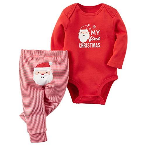 Neonato Unisex Natale Pagliaccetto Santa Applique Tutine Body + Babbo Natale Ricamo Pantaloni Bambino Vestiti Completini (3-6 Mesi, Rosso (Babbo Natale))