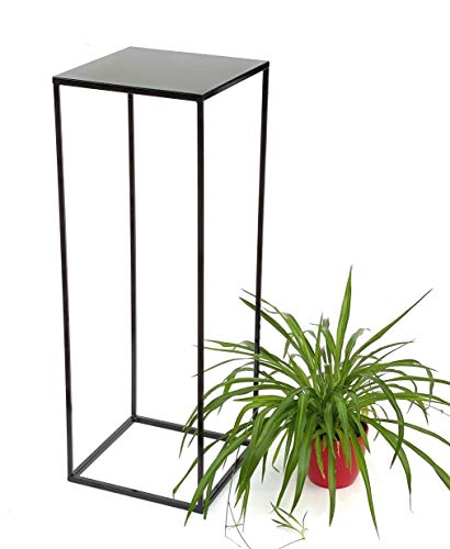 DanDiBo Blumenhocker Metall Schwarz Eckig Höhe 82 cm Blumenständer Beistelltisch 434 Blumensäule Modern Pflanzenständer Pflanzenhocker
