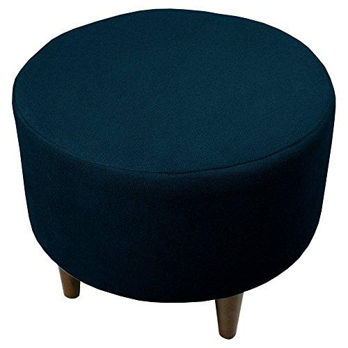 MJL Furniture Designs Sophia Collection Dawson Series Contemporary Round Ottoman, Eclipse Dark Blue/Wooden Legs