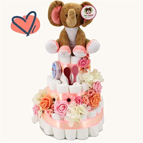 XXL Marken-Windeltorte für Mädchen mit Spieluhr & kostenfreier Grußkarte, perfekt geeignet als Geschenk zur Geburt für Babyparty