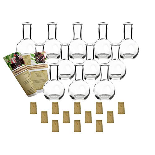 gouveo 12er Set Leere 100 ml Tulip Flaschen incl. Spitzkorken und 28-seitige Flaschendiscount-Rezeptbroschüre Milchflaschen Saftflaschen Essigflaschen Ölflaschen Glasflaschen