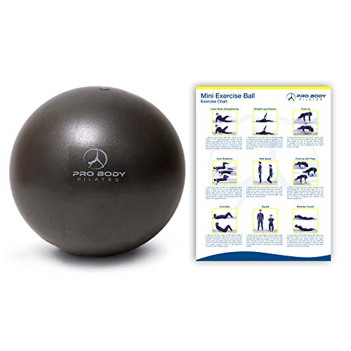ProBody Pilates Mini Exercise Ball - 9 Inch Small Bender Ball for Stability, Barre, Pilates, Yoga, Balance, Core Training, Stretching and Physical Therapy with Workout Guide (Black)