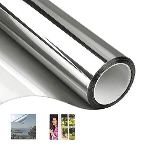 DUTISON Spiegelfolie Selbstklebend Sichtschutzfolie Fensterfolie Sonnenschutzfolie 99% UV-Schutz (Silber, 90 x 400 cm)