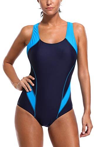 Charmo Sports Einteilige Badeanzug für Damen Racer Badeanzug Kontrastfarbe One Piece Strandkleid Beachwear XL