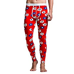 mens long thermal pants red with flowers