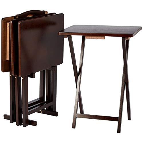 Amazon Basics – Juego de 4 mesas supletorias para comer frente a la televisión de estilo clásico con soporte, marrón Espresso