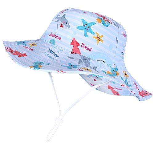 Happy Cherry - Niño Sombrero con ala Verano para Bebés Niñas Infantil Gorro Pescador Protección Sol Estampado Tiburón Primavera Bucket Hat para Playa Viajes Vacaciones - Azul Claro - 4-6 Años