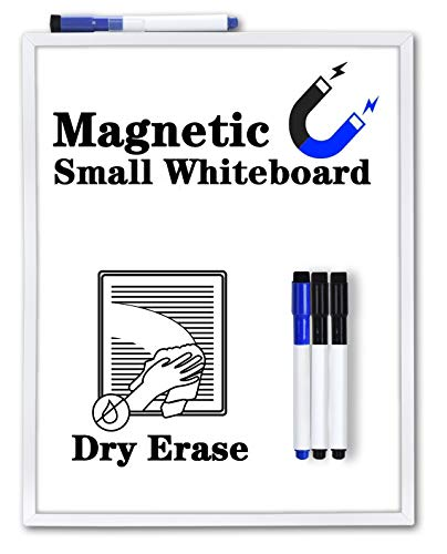 Small White Board11 x 14 Inches Browill Magnetic Dry Erase Whiteboard Board with 4 Dry Erase Markers for to Do List Refrigerator Locker Office Door Wall - with Hook
