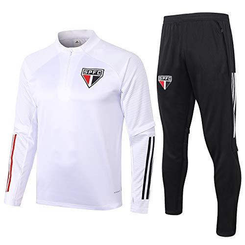 PARTAS Sao Paulo Tracksuits Football Wear Verein Uniform Langarm-Trainingsanzug Wettbewerb Anzug Herren 2 Stück Sets (Size : S)