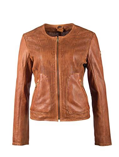 Gipsy Damen kragenlose Lederjacke Kurzjacke aus perforiertem Leder - GGBlanka LNV (M, Cognac)