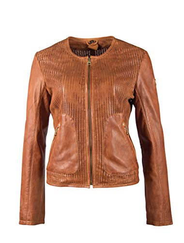 Gipsy Damen kragenlose Lederjacke Kurzjacke aus perforiertem Leder - GGBlanka LNV (S, Cognac)