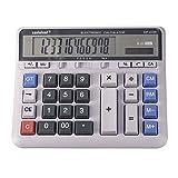 Calcolatrice da Tavolo,Calcolatrice da Tavolo con funzioni Standard Display LCD Inclinato di Grandi Dimensioni a 12 cifre Calcolatrice Elettronica Contatore Solare e Batteria a Bottone