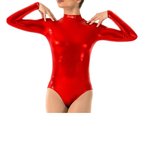 OBEEII Mujer Maillot de Ballet Danza Leotard Ballet Manga Larga Cuello Alto una Pieza Dancewear Bodysuit Rojo 2XL