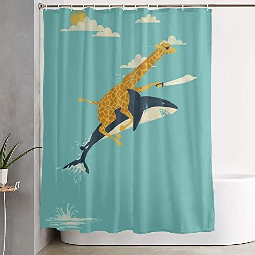 COVASA Waterproof Polyester Shower Curtain,Giraffe Riding Shark Adventure Theme,Cloth Fabric Resistant Bathroom Decor Set with Hooks,180 x 180 cm