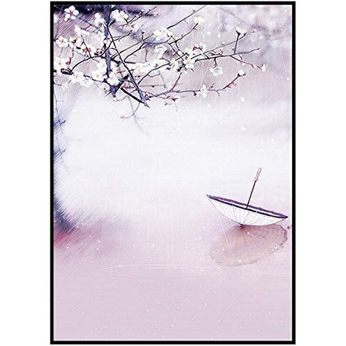 Guokaixyz Kleurrijke inkt schilderij papier paraplu paviljoen wagen Chinese kunst vrije hand poetisch landschap canvas decoratief schilderwerk geen lijst 21x30cm 3