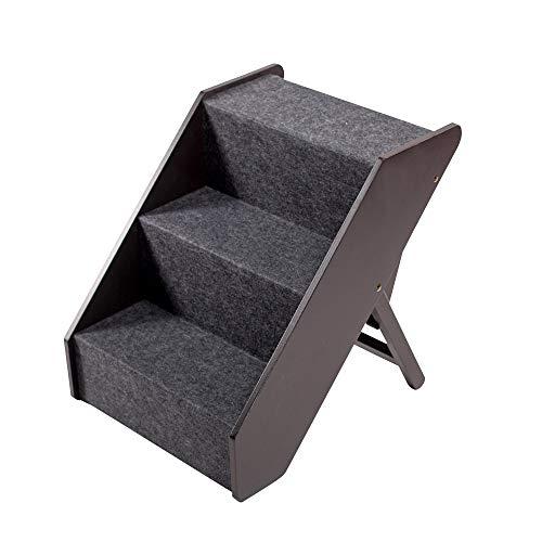 UPP Hundetreppe Premium   Massiv aus FSC Holz und höhenverstellbar  3-stufige Treppe für Hunde bis 70 kg   Klappbare Hunderampe für Auto und Innenbereich [Braun]