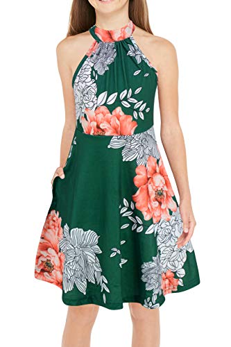 GORLYA Girl's Halter Neck Cold Shoulder Sleeveless Summer Casual Sundress A-line Dress with Pockets for 4-12 Years (GOR1013, 4-5Y, Green Print)