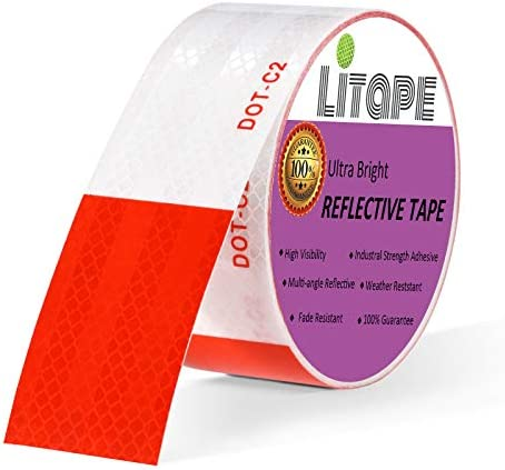 LITAPE High Adhesive 2 X 30 Feet Red White DOT C2 Retro Reflective Tape Strips High Visibility product image