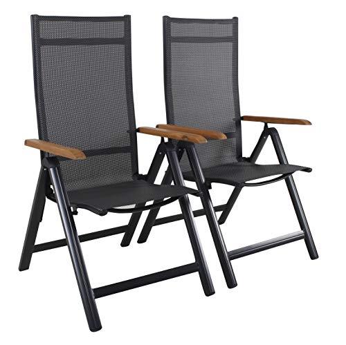 Strandgut07 - Juego de 2 sillas Plegables de Aluminio con Respaldo Alto, 4 x 4 cm, reposabrazos de Madera de Acacia, Color Negro