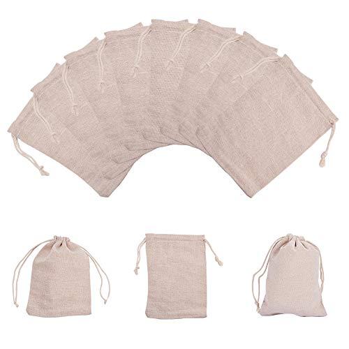 PandaHall - 30 bolsas de algodón para embalaje, bolsas con cordón, 17 x 12 cm, bolsa de regalo, almacenamiento de algodón, bolsas de lino para joyería, bolsas para boda, fiesta, ducha, cumplea