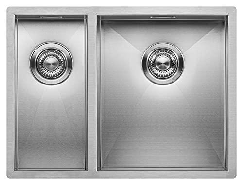 Fregadero de Cocina Mizzo Quadro 18-34 | Acero Inoxidable 304 | Mueble de 60 cm | Montaje Bajo o Sobre Encimera o al Ras | Radio 0mm | 1.5...