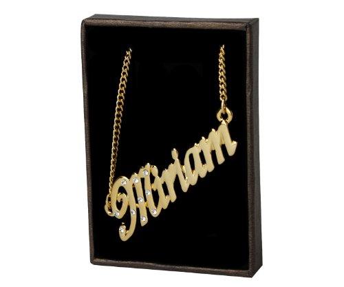 Kigu Miriam Collar con Nombre - Chapado en Oro Personalizado de 18 Quilates - Cadena Ajustable