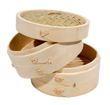 iPro Kitchenware Dampfgarer-Set, Bambus, 25,4 cm, inkl. 2 Dampfgarer und 1 Abdeckhaube