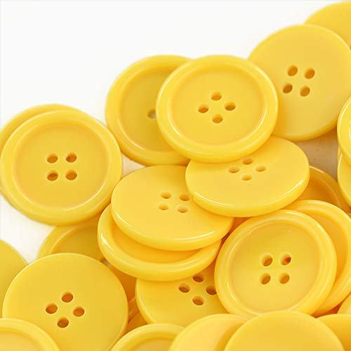 GANSSIA 1 Inch Buttons 25mm Sewing Flatback Button Yellow Colored Pack of 50
