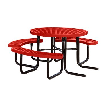 """Kirby Built Products 46"""" Round Thermoplastic-Coated Metal SuperSaver Commercial Picnic Table - ADA 1-Chair Capacity - Portable/Surface-Mount - Red"""