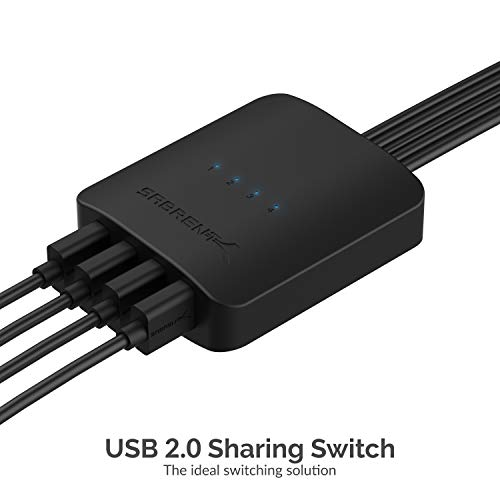 Sabrent USB 2.0 Sharing Switch up to 4 Computers and Peripherals LED Device Indicators (USB-USS4)