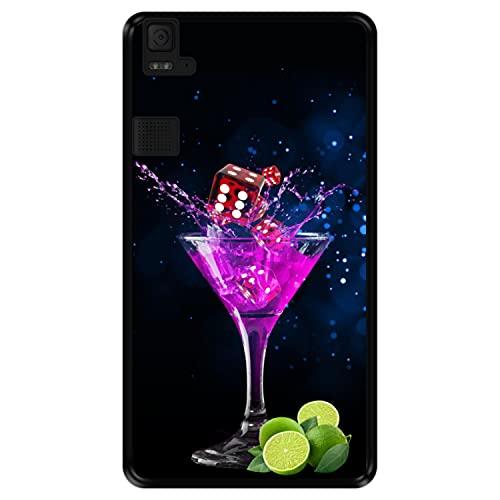 Hapdey silikon Hülle für [ Bq Aquaris E6 ] Design [ Party, buntes Cocktail mit Kalk & Würfeln ] Schwarze Flexibles TPU