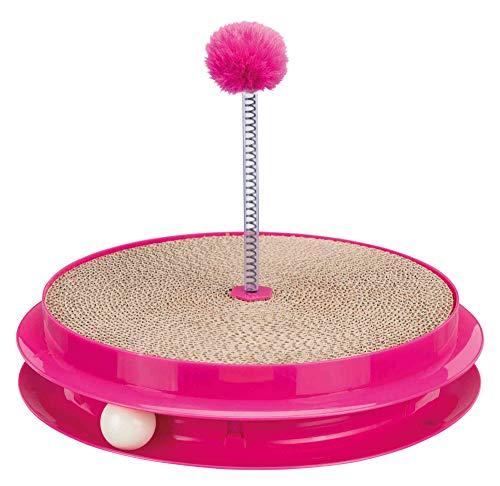 Trixie 41412 Spielplatte Scratch & Catch, Kunstoff/Pappe, ø 35 × 7 cm, pink