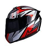 KKmoon Casco per Moto, Casco Integrale per Donne Uomini Adulti, 59-60 cm, Attrezzatura per Motociclisti Quattro Stagioni Universale, Rosso e Grigio, L