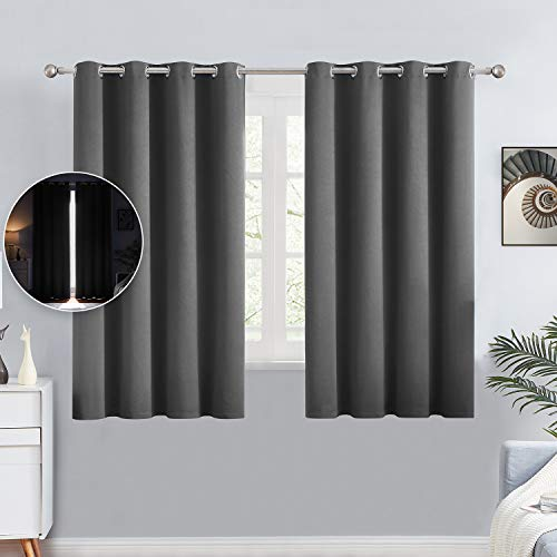 100% Blackout Curtains for Bedroom - Solid Thermal Insulated, Energy Efficient, Noise Reducing, Full Shading Drapes Grommet Privacy Window Curtains for Living Room, 2 Panels, 52x 63 Inch, Dark Grey