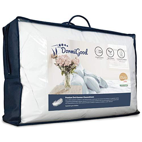 DormiGood - Premium Daunenkissen 80 x 80 cm 100% Natur - 3 Kammer Kopfkissen 80x80 1000g extra weich - Hochwertiges Inlay aus Baumwolle
