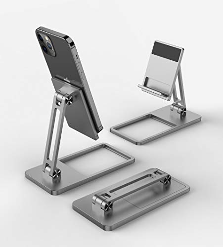 Foldable and Adjustable Phone Holder Universal Mobile Aluminum Alloy Holder for Cell Phone and Tablet PC, CNC Metal Smartphone and pad Holder