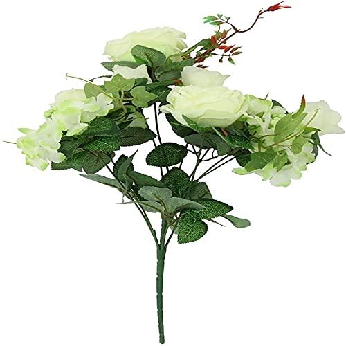 Yyhmkb Bouquet de 9 têtes de Roses et d'hortensias!Bouquet de tiges de Fausses Fleurs en Soie Artificielle Ivoire