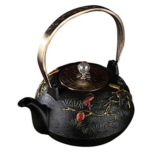 DOITOOL Vintage Tea Pot with Infuser Cast Iron Tea Kettle Stovetop Teapot with Filter Pour Pitcher for Loose Leaf Tea Blooming Tea Fruit Tea