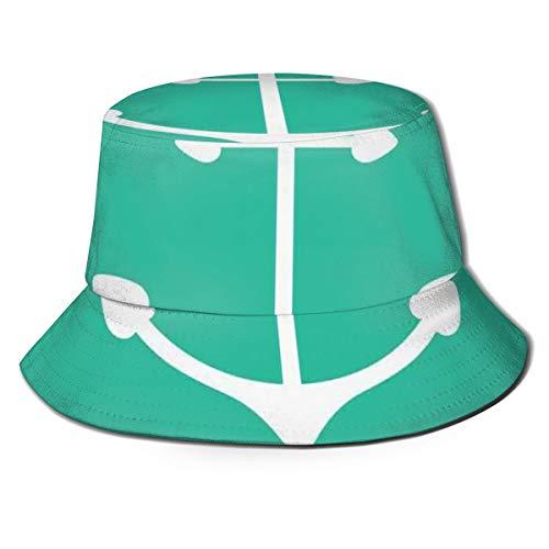 LLALUA Unisex zomer visser pet, Anker hart vormen en golvende lijnen op de bodem zeeman liefde valentijnsdag, reizen strand outdoor zon hoed