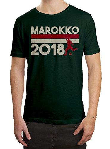 Marokko WM 2018#18 Premium T-Shirt Fan Trikot Fußball Weltmeisterschaft Nationalmannschaft Herren Shirt, Farbe:Dunkelgrün (Bottle Green L190);Größe:M
