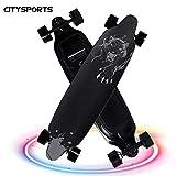 CITYSPORTS Skateboard électrique, 4 roules Longboard, Scooter électrique avec télécommande, 2 Vitesse Modes de Vitesse Ajustable (Black)