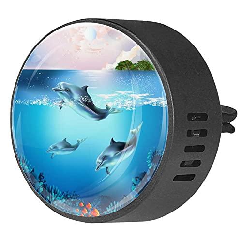 Difusor de aromaterapia para coche,El mundo submarino de los peces y las plantas. ,Clip de ventilación de desodorante de área redonda 2PCS Aceite esencial para difusor de automóvil
